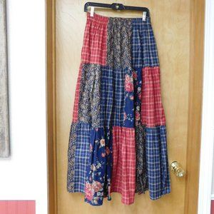 Vintage Western Floral and Plaid Skirt and Shirt